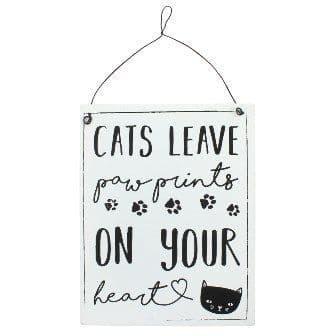 cats leave paw prints metal sign